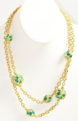 100cm Goldtone Chain Necklace with Rhinestone Rondelle Beads