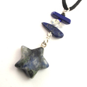Denim Blue Sodalite, Blue White Carved Gemstone 5 Pointed Star Charm Pendant with Lapis Lazuli & Opalite Chip Accents on Adjustable 50cm Black Necklace Cord