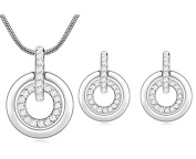 Fashion White Gold Plated Austrian Crystal Circle Set Stud Earrings and Pendant Necklace Jewellery Set.