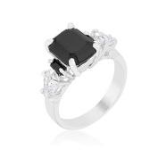 Womens Silvertone Brass Black Emerald Cut Cubic Zirconia Cocktail Prong Ring