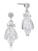 Catherine's Marquis Cz Dangle Earrings Bridal Rhodium Plated in Box