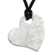 Fantasy Forge Jewellery Women's Stainless Steel Heart Shaped with Puzzle Pieces Pendant Necklace