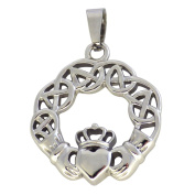 Fantasy Forge Jewellery Women's Stainless Steel Celtic Claddagh Pendant Necklace
