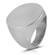 Pascollato Stainless Steel Silver Big Flat Round Cocktail Bold Stamp Ring