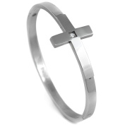 Stainless Steel Cross and CZ Bangle Bracelet 6.4cm High Polished Silver-Tone, Gorgeous
