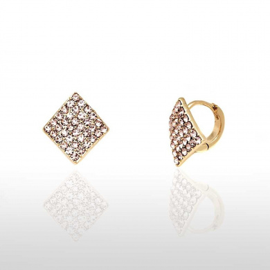 Rose Gold Plated Earrings with Crystal Pave