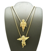New ANGELS Micro Pendant & 60cm & 80cm Box Chain Small Hip Hop Necklace Set RC130G