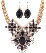 Accessory Accomplice Vintage Inspired Goldtone Grey & Black Stone & Crystal Flower Pendant Multi-Strand Statement Necklace & Earring Set