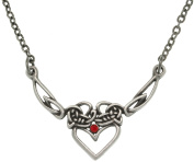 Jewellery Trends Pewter Celtic Princess Heart with Red Rhinestone Chain Necklace