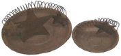 Craft Outlet Rusty Tin Candle Plate, 18cm and 11cm , Set of 2