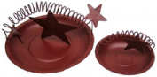 Craft Outlet Tin Candle Plate, 18cm and 11cm , Red, Set of 2