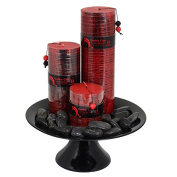 Essential Décor Entrada Collection 3-Piece Candle Set with Ceramic Plate