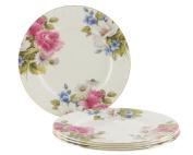 Gracie Bone China 19cm Dessert Plate, Pink Grace's Rose, Set of 4