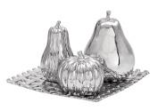 Deco 79 71689 Ceramic Plate W Fruit S/4 30cm W, 20cm H -