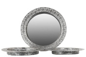 Urban Trends Metal Tray Round Elector Plated (Set of 3),