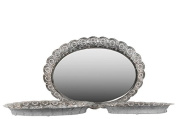 Urban Trends Metal Tray Oval Elector Plated (Set of 3),