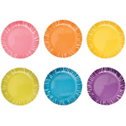 French Bull - Multicolor Melamine Plate - For Appetisers And Desserts - Fringe, Set Of 6 Assorted