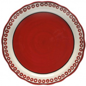 Caffco International M.Bagwell Collection Ceramic Charger, Red and Cream