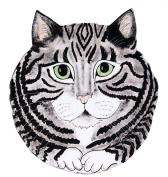 Rescue Me Now Grey Tabby Cat Ear Plate, 27cm