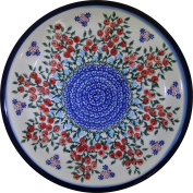 Polish Pottery Ceramika Boleslawiec 1103/282 Royal Blue Patterns Dinner Plate, 26cm , Red Berries and Daisies