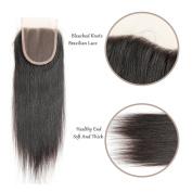 FeiBin Hair 10cm x 10cm Brazilian Straight Lace Closure Bleached Knots Natural Colour 100% Virgin Human Hair Closure Free Part Lace Closure