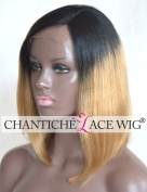 Chantiche Short Bob Regular Yaki 9.5cm Invisible Left Deep Parting Ombre Silk Top Wig Human Hair Natural Looking Dark Roots Honey Blood Brazilian Remy Hair Lace Wigs for Black Women 36cm