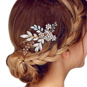 Happy Hours - Women Pearl Rhinestone Handmade Hairpins / Floral Shaped Design Barrette Clips for Wedding Prom Bridal Bridesmaid Jewellery Accessories