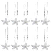 Happy Hours - 10 Pcs White Floral Alloy Crystal Hair Pins Clips for Wedding, Prom, Dance and Party
