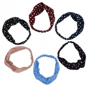 6pcs Stretchy Athletic Bandana Headbands Head Wrap Yoga Headband Head Scarf Best Looking Head Band for Sports or Exercise FD20