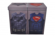 Modern Littles Batman vs. Superman Grey Uniform Folding Double Laundry Bin