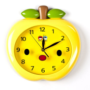 Wall Clocks For Kids (Yellow Apple) - Fun Colourful Design For Boy Or Girls Room. Silent Non-Ticking Hand. Best For Bedroom, Nursery, Playroom & Classroom Decor. Great For Teaching A Child To Read Time