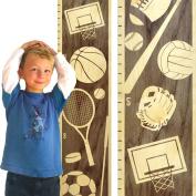 Growth Chart Art   Wooden Height Chart   Sports Growth Chart for Kids, Boys & Girls   Sports Themed Nursery Decor   Multi Sport Grey