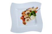 Fineline Settings Wavetrends White Square-Wave China-Like 23cm Plate 120 Pieces