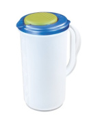 Sterilite 04820006 1.9l Round Pitcher, Blue Sky Lid w/ Lime Tab & Clear Base, 6-Pack