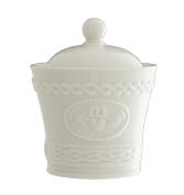 Belleek Pottery Claddagh Sugar/Condiment Bowl, White