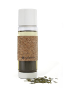 Full Circle Tea Time insulated glass travel bottle with tea infuser and cork sleeve, 560ml, Earl Grey