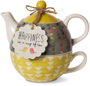 Pavilion Gift Company 74070 Bloom Happiness Ceramic Tea for One, 440ml, Multicolor
