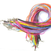 Assorted Colours 50 Pcs Silk Organza Necklaces Cord Ribbon Waxen Necklace String Chain With Lobster Clasp Random Colour
