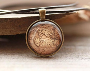 Antique map pendant Vintage necklace Old world jewellery