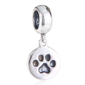 Puppy Dog Paw Charms 925 Sterling Silver Animal Paw Pendant Pet Charm for Pandora Charms Bracelets