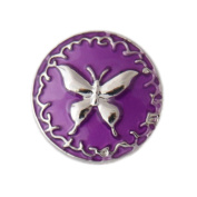 Lovmoment Butterfly Shape with Enamel DIY Snap Button Chunk Jewellery Charms