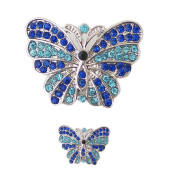 Lovmoment Butterfly Shape with Rhinestone DIY Snap Button Chunk Jewellery Charms