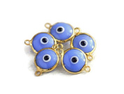 Foxy Findings Evil Eye Collection 24k Gold Plated Baby Blue Glass Evil Eye Connector Charm Set of 5 EE052