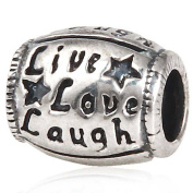 Live Love Laugh Charm 925 Sterling Silver Oval Bead for Pandora Charms Bracelet