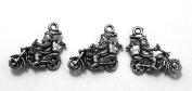 Set of Three (3) Silver Tone Pewter Motorcycle Santa Charms