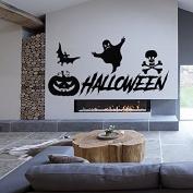 Happy Halloween Wall Decals Witch Decal Vinyl Pumpkin Stickers Kids Nursery Bedroom Home Decor Art Murals MC1