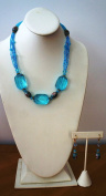 50cm Long Necklace and Earring Set with Facted Glass Bead Nuggets and Cloisonne Beads