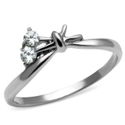Women's Stainless Steel Clear Cubic Zirconia Love Knot Promise Ring, Size 5,6,7,8,9,10