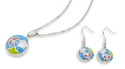 Chelsea Jewellery Premium Summer Style Navy Colour Stained Glass Effect Round Earrings & Pendant Set Embellished With Classy Butterfly and flowers.
