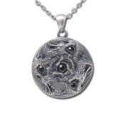 Jewellery Trends Pewter Trinity Dragon Round Pendant on 60cm Chain Necklace